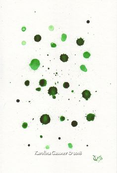 Green Drops - Gassner - ink painting - centimetres in a cm mount Group Art, Ink Drawings, Ink Painting, Paintings, Abstract, Handmade Gifts, Green, Etsy, Summary