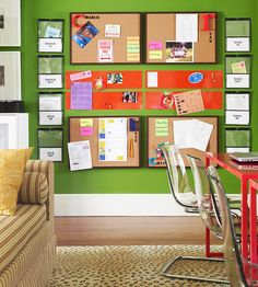 A host of wall-mounted organizers, such as bulletin boards, magnetic panels, and file folders, save space and encourage parents and kids to exchange important messages. Magnetic strips of memo board provide a place to hang cards and photos.