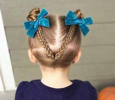 Peinado de niña con trenzas y coletas