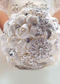 Luxus Satin Hochzeit Blumen Bouquet mit Strass Perlen