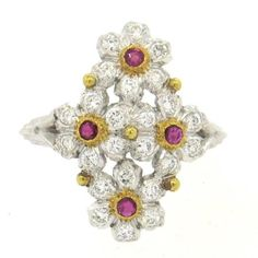 Buccellati Diamond Ruby Gold Flower Ring | From a unique collection of vintage more rings at https://www.1stdibs.com/jewelry/rings/more-rings/
