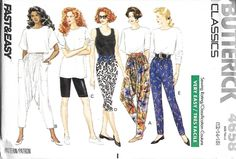 Butterick 4658 Misses Harem Pants, Bike Shorts, Leggings And Tapered Pants Pattern, 12-14-16,  UNCUT by DawnsDesignBoutique on Etsy