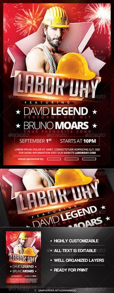 Fireworks Set Font logo, Fonts and Logos - labour day flyer template