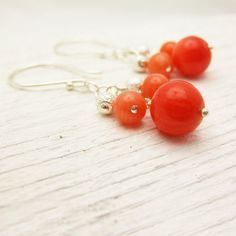 Tangerine Tango Coral Earrings with Sterling Silver: cluster orange pantone dangle / modern madmen 60s retro inspired