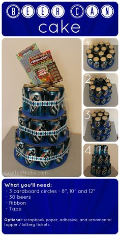 "beer can ""cake"" what a great idea for guy birthdays just use their favorite beer- doing this for my brother's birthday (for those uncles you never know what to buy!)"