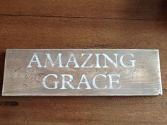 Made on a pine board from Lowes then distressed and stained before stenciling. I like to sand over the words to make them look old. Wood Bees, Used Pallets, Pine Boards, Alphabet Stencils, Look Older, Tongue And Groove, Stenciling, Amazing Grace, Lowes