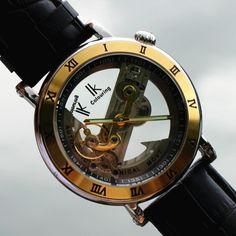 Herrklocka IK Colouring - Emperor (guld/svart läder) #ik #skeleton #ikcolouring #armbandsur #klocka #klockor #herrklocka #herrklockor #runns #watch #watches