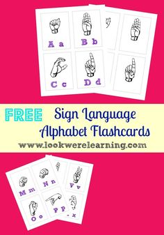 This set of FREE printable Sign Language Flash Cards from Look Were Learning includes a full set of ASL alphabet flashcards, with one card for eac