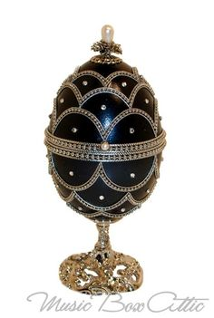 Dark Blue Faberge Style Musical Goose Egg
