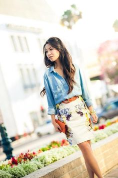 Floral Print and Soft Chambray