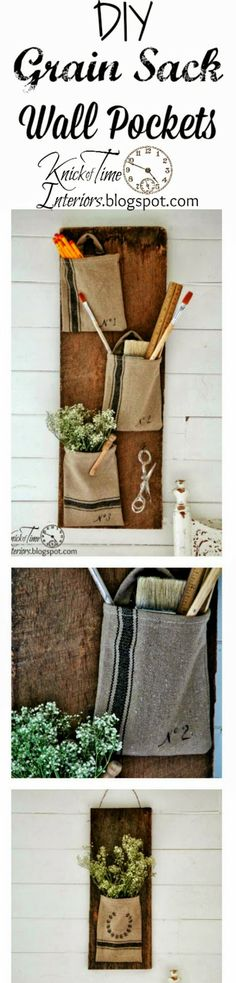 DIY GRAIN SACK WALL POCKETS via KnickofTime.net