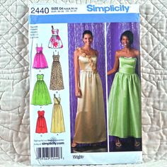 2440 SIMPLICITY Uncut PATTERN 2010 Women Sleeveless Dress Gathered to Bodice Three Lengths Variations Skirt Waistline Size 4 6 8 10 12 4-oz