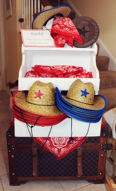 Toy Story Party favors... cowboy hats & bandanas guests should get as they arrive. Then goody bags as they leave.