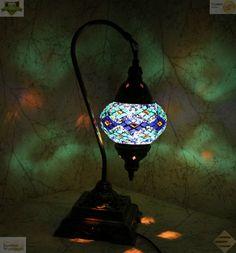 Multicolour Turkish Moroccan Mosaic Table Lamp Lampshade Hand Made Medium Globe