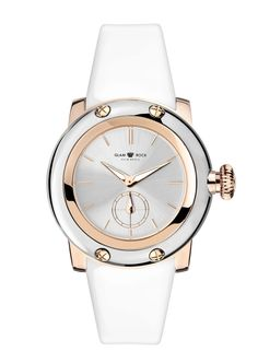 GR40422: Rose Gold IP with Stainless Steel Case Cover & Patent Genuine Leather White Strap
