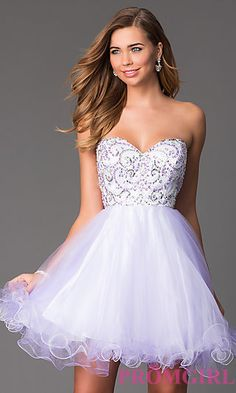 Short Strapless Prom Dress with Corset Back  at PromGirl.com