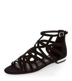 Sandales en suédine noire avec brides torsadées   New Look