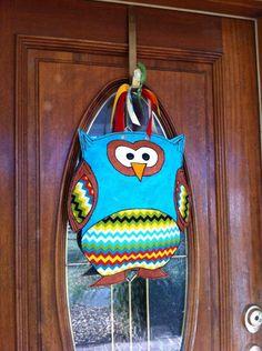 Chevron Print Burlap Owl Door Hanger. $40.00, via Etsy.
