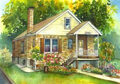 Watercolor House Painting of Your Home, Custom Art