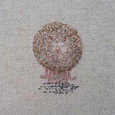 Hand embroidered Lion Buddha