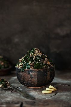 ... quinoa with spinach, lemon and ginger ...