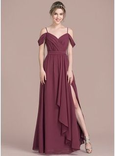 A-Line/Princess V-neck Floor-Length Chiffon Prom Dress With Bow(s) Split Front Cascading Ruffles