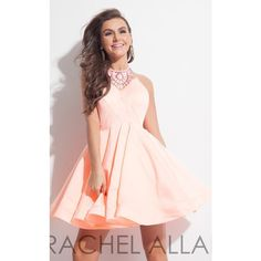 Rachel Allan 4041 Homecoming Dress Mini Halter Sleeveless ($298) ❤ liked on Polyvore featuring dresses, formal dresses, light coral, coral dress, cocktail prom dress, formal cocktail dresses, prom dresses and pink cocktail dress