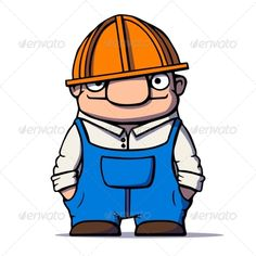 Cartoon Worker ...  architect, art, build, builder, cartoon, character, contractor, cute, engineer, hardhat, hat, helmet, human, illustration, industrial, industry, job, male, man, occupation, plumber, professional, repairman, safety, simplicity, uniform, vector, work, worker, workman