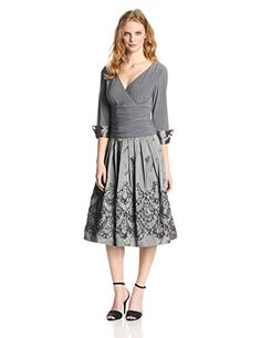 Jessica Howard Women's 3/4 Cuff Sleeve Ruched Waist Pleated Skirt Dress, Grey, 16