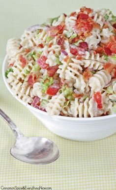 BLT Pasta Salad with Ranch #dinnerrecipes #salad