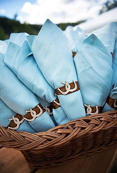 2014 sky blue beach wedding napkins, the beach wedding napkins with brown ribbon.