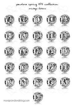 The full set of Vintage Letters from the Pandora Spring 2016 collection
