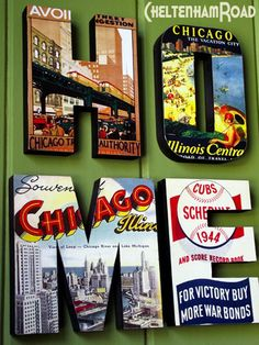 Chicago HOME wall decor- kind of a cool idea to do something like this to represent where you and your roommate are from