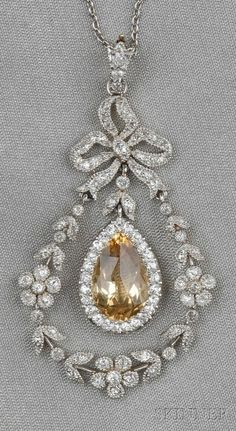 "belgiannathalie:  "" Edwardian topaz and diamond pendant - Black, Starr & Frost  """