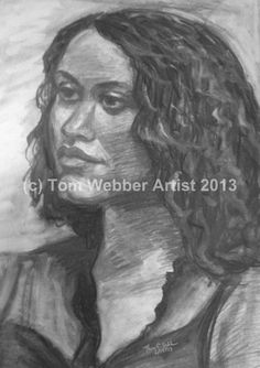 Young Hispanic woman. Charcoal by Tom Webber.