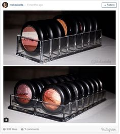 Have a lot of eyeshadow compacts or pots running your vanity amok? You can apparently get perfectly sized acrylic organizers for that.