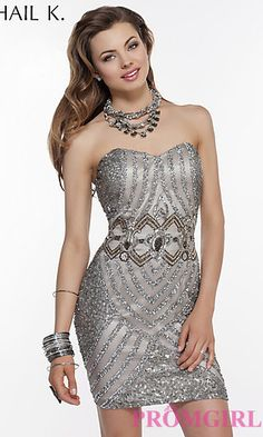 Short Strapless Sweetheart Sequin Dress at PromGirl.com