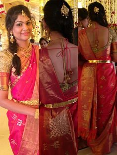 south indian bride wearing bridal saree and jewellery