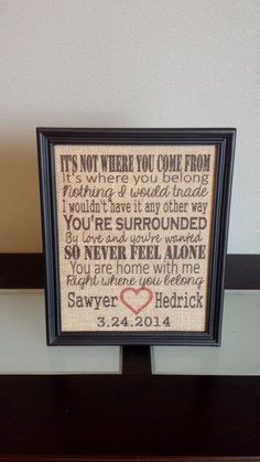 Burlap Frame Print - Adoption Date - Adoption Song Where You Belong - Adopted Child - Adopt Gift - Customizable- Personalized - 8x10