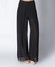 Look at this Black Sheer Wide-Leg Pants on #zulily today!