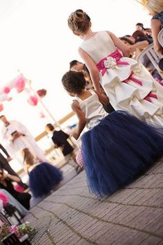 Nautical Wedding in Navy Blue & Pink | Confetti Daydreams - Cute princess-like navy blue ballerina tutus for flowergirls