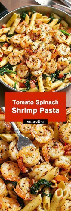 Tomato Spinach Shrim Tomato Spinach Shrimp Pasta Bold flavors star in this one pot dinner ready in 30 minutes. Al dente pasta is tossed with spicy grilled shrimps tomatoes fresh spinach garlic and a drizzle of o Fish Recipes, Seafood Recipes, Cooking Recipes, Healthy Recipes, Recipes Dinner, Dinner Ideas, Cooking Games, Grilling Recipes, Healthy Meals