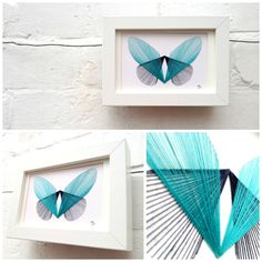 blue butterfly Collage by one yellow teapot DIY idea string art Nail String Art, String Crafts, Fun Crafts, Diy And Crafts, Arts And Crafts, Diy Wall Art, Diy Art, Yellow Teapot, String Art Patterns