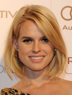 Hairstyles That Slim a Round Face Shape: This Chin-length Bob on Alice Eve is Perfect for a Round Face