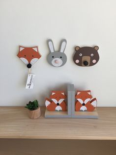 This handcrafted Bunny Rabbit Wall Hook will add a touch of fun and function to woodland themed nursery or a childs room. DIMENSIONS: Bear: 5 1/5 x 4 1/2 x 1 1/2 Fox: 5 1/4 x 5 x 1 1/2 Bunny: 6 x 4 x 1 1/2  WOOD: Each animal is hand cut by me (no laser cutting machine) from sustainably harvested wood. PAINT: NO VOC. No need to worry about breathing in icky fumes.  DISPLAY: There is a keyhole drilled in the back for mounting.  VIEW additional Maple Shade Kids products here:  Fox Bookends… Baby Room Wall Decor, Baby Decor, Kids Decor, Fox Nursery, Woodland Nursery Decor, Wall Hanger, Wall Hooks, Animal Heads, Fox Animal