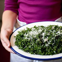 I veganized this recipe with vegan Parmesan cheese (3 ingredients... easy... ttp://ohsheglows.com/2010/02/23/glass-dharma-giveaway/ ) and it was very, very good. If I'm making it for a group, I'll go decadent next time and use real Parmesan. This will win over kale haters.