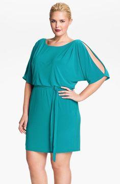 Jessica Simpson Cold Shoulder Matte Jersey Blouson Dress (Plus Size) available at #Nordstrom