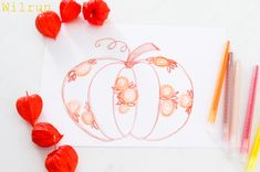 Sticken Vorbereiten Vorlage Stickvorlage Blumen Herbst Pumpkin, Embroidery, Fall Pumpkins, Seasons Of The Year, Bricolage, Flowers, Breien, Pumpkins, Needlepoint