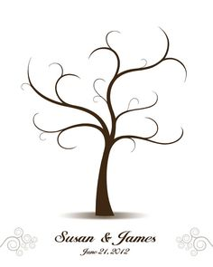 DIY Wedding Tree Guest Book - Printable PDF - Digital Curly Fingerprint Signature Tree 16x20, 17x22, 18x24 or 20x25