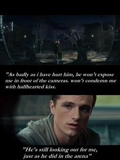 "The Hunger Games: Catching Fire "" He still looks out for me"" Peeta Mellark The Boy With the Bread"